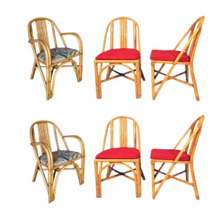 Restored Slat Leg Rattan Dining Chair, Set of Six For Sale