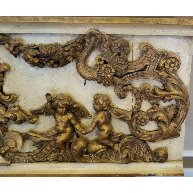 Antique Italian 19th Century Carved Wood Gilded Cherub Putti Panel - Image 4 of 11