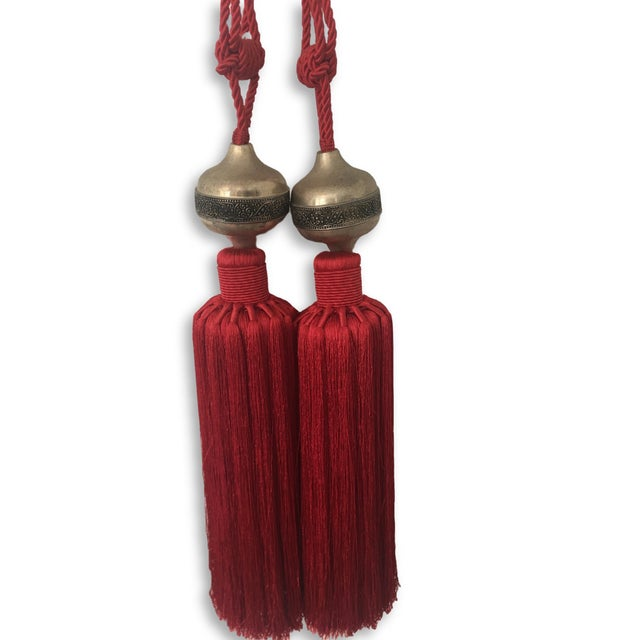 """Pair of Moroccan Silk Tassel , Hand Woven with a Decorative Metal Silver Embossed Ornament Red Color. cord size of 18"""" ...."""