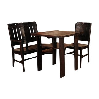 1910s Arts & Crafts Oak Breakfast Dining Set - 3 Pieces For Sale