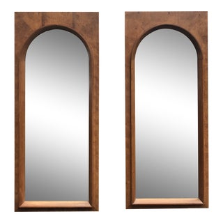 Mid-Century Burlwood Wall Mirrors by Thomasville - a Pair For Sale