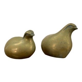Vintage Mid Century Modernist Brass Quail Bird Sculptural Figurine - a Pair For Sale
