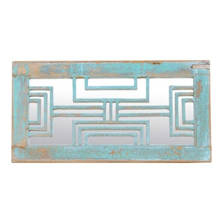 French Blue Architectural Mirror Panel For Sale