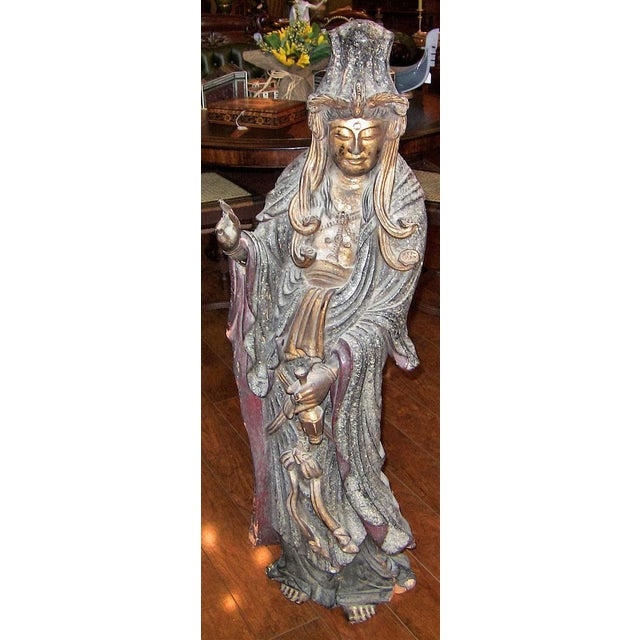 Asian 19c Asian Wooden Carved, Painted & Gilded Guanyin Statue For Sale - Image 3 of 12