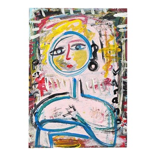Abstract Oil on Paper Pink Portrait Painting of a Woman For Sale