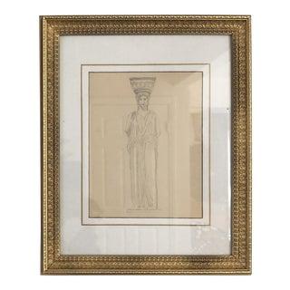 1940s Vintage Greek Statue Gold Framed Pencil Drawing For Sale