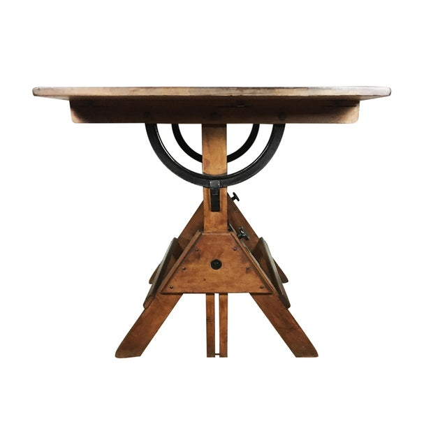 Cast Iron Vintage 1920s Cast Iron Hardware, Solid Maple and Pine Drafting Table For Sale - Image 7 of 8