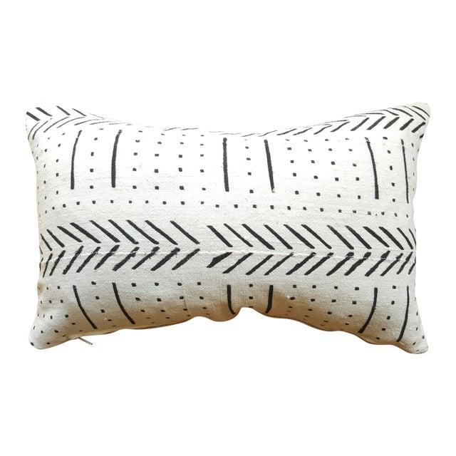 White African Mud Cloth Lumbar Pillows - A Pair - Image 1 of 4