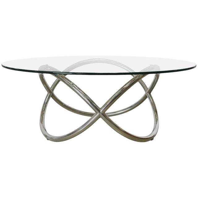 1960s Vintage Chrome and Glass Coffee Table For Sale