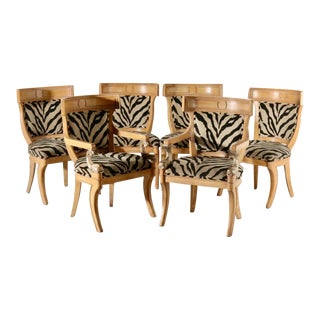 Drexel Heritage Klismos Neoclassical Carved Dolphin Dining Chairs - Set of 6 For Sale