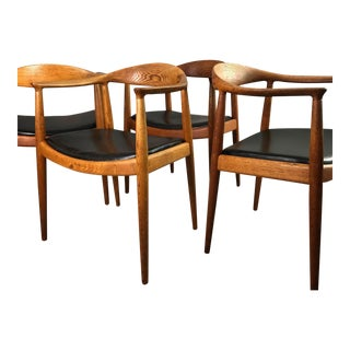 Four Wegner Round Chairs For Sale