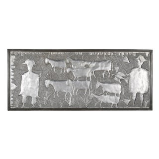 Repouss Aluminum Panel by Nigerian Artist Asiru Olatunde For Sale