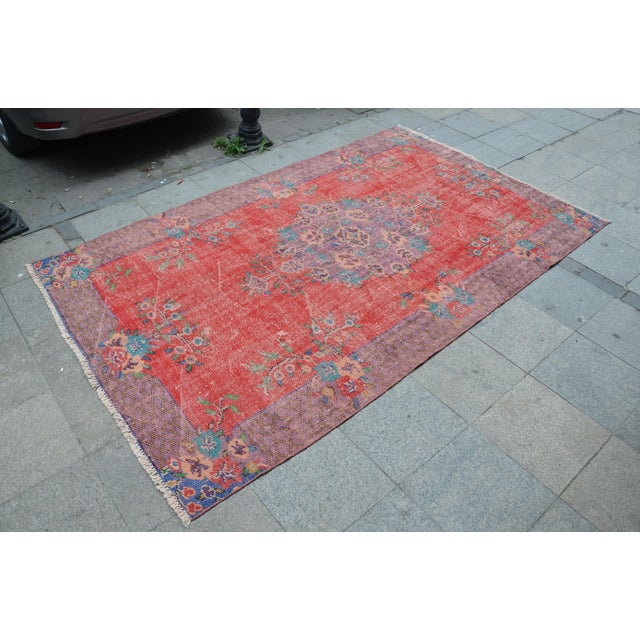 Islamic Antique Turkish Wool Rug - 5′10″ × 9′4″ For Sale - Image 3 of 6