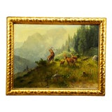 Image of Ludwig Skell - Stag and Does in the Forest For Sale