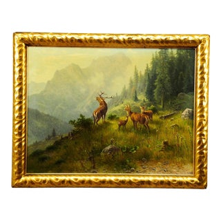 Ludwig Skell - Stag and Does in the Forest For Sale