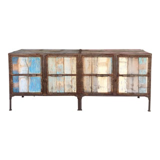 1960s Industrial Rustic Metal Cabinet For Sale