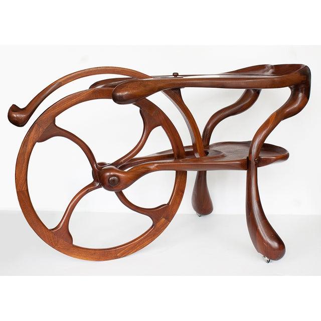 Vintage Studio Sculptural Carved Walnut Bar Cart - Image 4 of 10