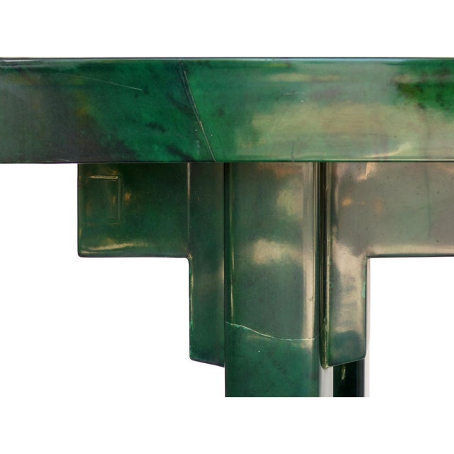 Over-Scale Green Goatskin Stylized Altar Table Style Console Table For Sale In Miami - Image 6 of 9