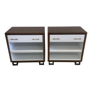 Modern Wood and Lacquer Nightstands - a Pair For Sale