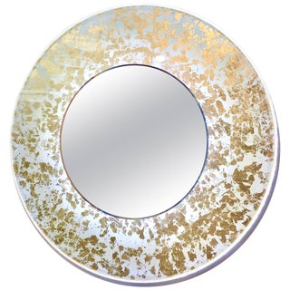 Contemporary Italian Organic Modern Ivory White and Gold Leaf Round Lit Mirror For Sale