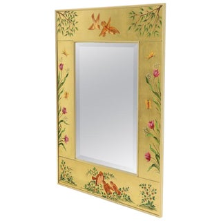 Reverse Painted Gold Leaf Rectangular Frame Decorative Mirro For Sale