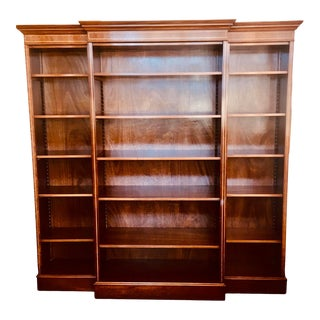 English Burled Walnut Triple Bookcase With Satinwood Trim For Sale