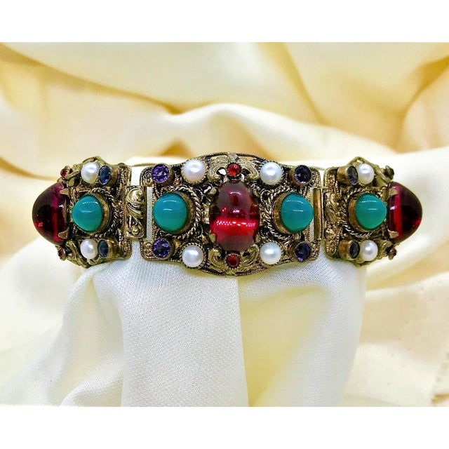 1940s Czech Austro-Hungarian Revival Jeweled Bracelet For Sale - Image 9 of 9