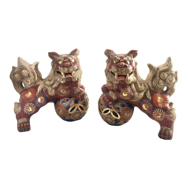 1970s Hollywood Regency Large Red Gilt Foo Dogs - a Pair For Sale
