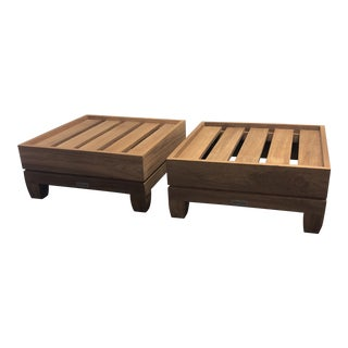 Brown Jordan Outdoor Ottomans - a Pair