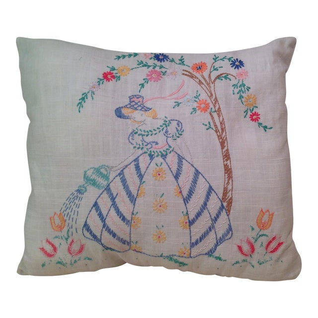 Mid-Century Modern Hand Embroidered Pillow - Image 1 of 5