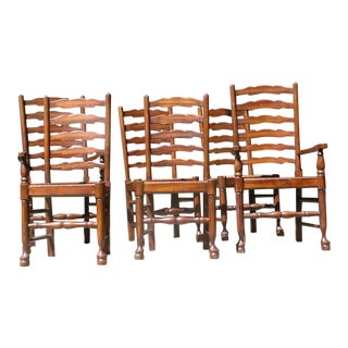 17th Century English Baker Ladder-Back Dining Chairs - Set of 6