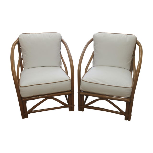 Vintage White Bamboo Chairs - A Pair - Image 1 of 5