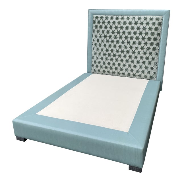 Custom Queen Size Platform Upholstered Bed in Mokum Velvet For Sale