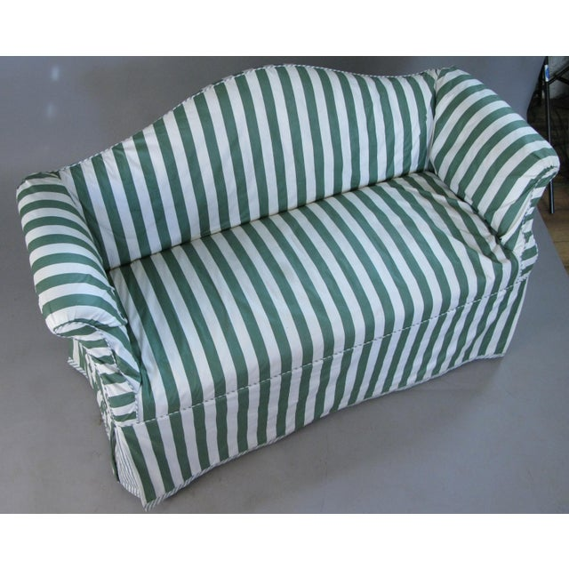 Textile Petite Camelback Settees With Slipcovers in Green & White - a Pair For Sale - Image 7 of 10