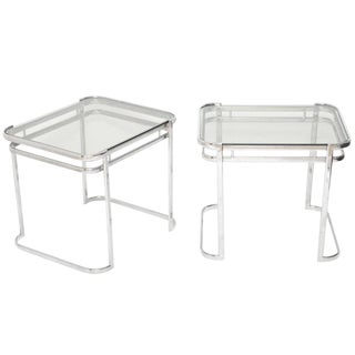 Pair of Italian 1970's Modern Side Tables in Chrome and Smoked Gray Glass For Sale