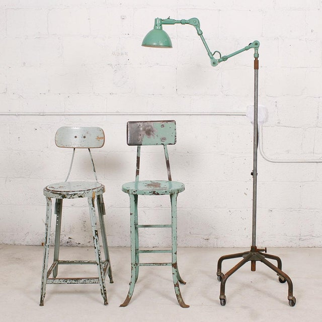 Vintage Industrial Rustic Green Bar Stool - Image 7 of 7