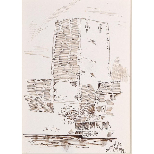 """Antique English Pen & Ink Drawing """"Oxford Castle"""" of St George's Tower For Sale - Image 4 of 7"""