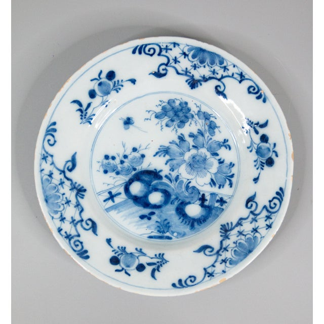 Blue Antique 18th-Century Delft Dutch Chinoiserie Floral Plate For Sale - Image 8 of 8