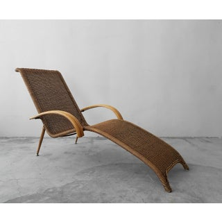 Mid Century Sculptural Italian Modern Cane and Bamboo Chaise Lounge Chair Preview