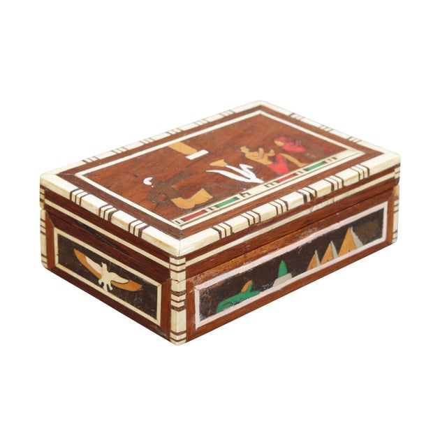 Wood Decorative Inlaid Trinket Box For Sale - Image 7 of 7