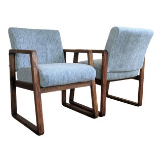 Bentwood Oak Sled Chairs - a Pair For Sale