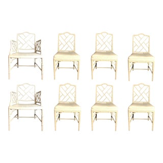 Set of 8 Chinese Chippendale Faux Bamboo Dining Chairs For Sale