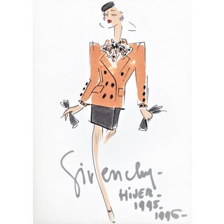 RARE-Matted Haute Couture Givenchy 1995 Fashion Print With Original Documentatin For Sale