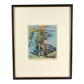 """Mid-Century Abstract Serigraph """"Birth of Venus"""" By Henry Mark, Signed For Sale"""