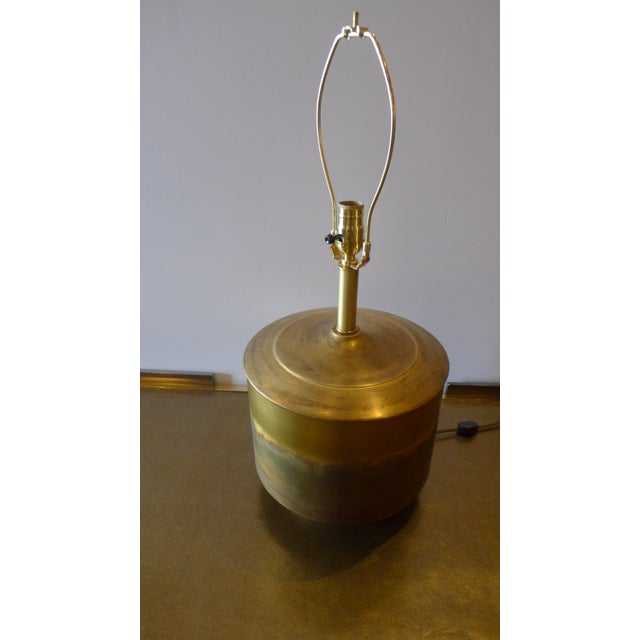 Modern Brass Table Lamp with Custom Grasscloth Shade - Image 9 of 10