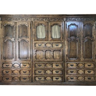 Vintage Country French Walnut Baker Armoire With Drop Front Desk For Sale