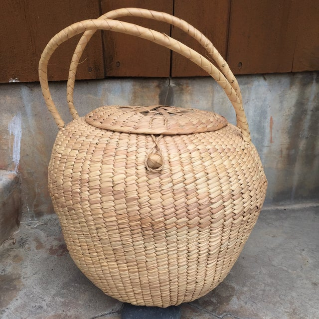 Woven Lidded Basket With Handles - Image 2 of 5