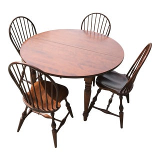 Vintage Windsor Chairs & Table Dining Set For Sale