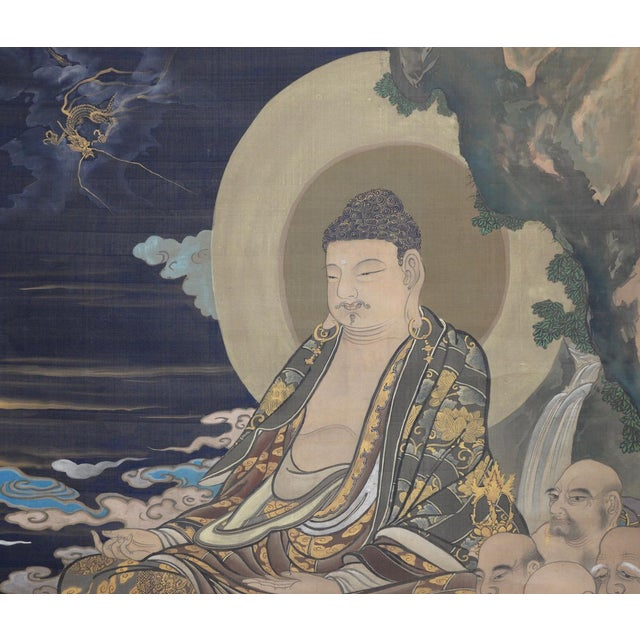 Antique Japanese Hanging Scroll With Buddha and His Disciples C.1910 For Sale - Image 9 of 12