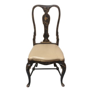 Antique Chinoiserie Desk Chair With Leather Seat